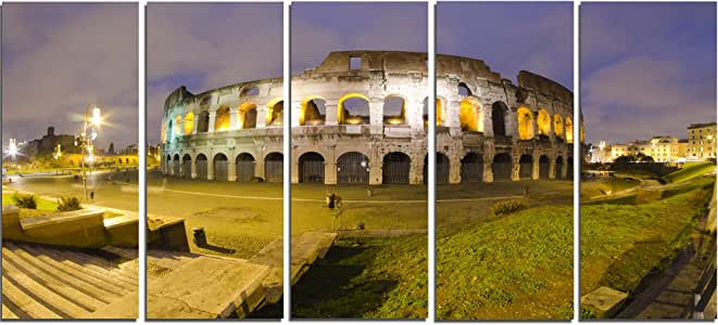 "Night Landscape Monumental 帆布画,15.24 x 71.12 cm 60x28"" - 5 Equal Panels PT7559-401"