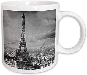3drose 场景 from THE past 复古 stereoview–埃菲尔铁塔巴黎法国1889黑色和白色–马克杯 白色 11-oz