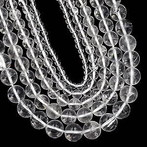 AD 珠光天然宝石圆形散珠 15 毫米 6mm 8 毫米 10 毫米 透明石英 4mm 4AFLsBdCLQTZ