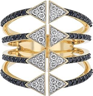Olivia Paris 14K 黄金高尔夫多层 3/4 克拉(克拉)钻石几何戒指