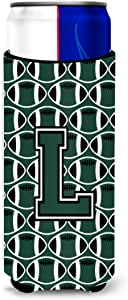 Letter L Football Green and White Ultra Beverage Insulators for slim cans CJ1071-LMUK