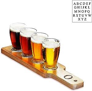 Personalized Beer Flight Sampler 透明 Letter - N