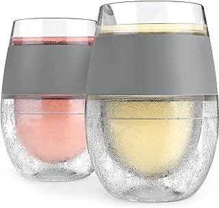 HOST 冰镇式酒杯 2 只装 - 隔热橡胶手柄,专用冷却凝胶,8.5 盎司,让您的饮料持续冰爽!