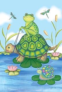 Toland Home 花园池塘塘 71.12 x 101.6 cm 装饰可爱春青蛙海龟百合花屋旗