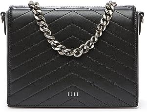 ELLE 女式 牛皮斜挎包单肩包链条方形包 E27F1170628BK 黑色 190 * 90 * 150mm