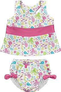 i play. by green sprouts 两件式分体式泳衣带按扣可重复使用游泳尿布 | 女婴泳衣 | 轻质,*设计  白海朋友 24 Months