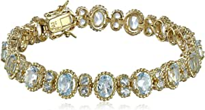 """18k Yellow Gold Plated Sterling Silver Sky Blue Topaz Oval Twisted Tennis Bracelet, 7.25"""""""