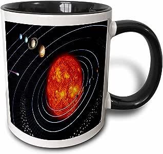 3drose florene 空间–NASA 图 OF Planet N 太阳系–马克杯 黑色/白色 11 oz