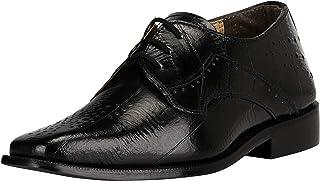 LIBERTYZENO 男孩系带徒步礼服鞋 EEL 皮肤印花儿童真皮滑翔鞋(幼儿/小童/大童) 炭黑色 6 幼儿