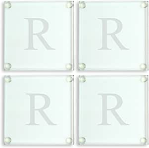 Cathy's Concepts Personalized Glass Coasters, Set of 4, Letter R