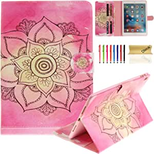 iPad Pro 9.7 inches Case, Dteck(TM) Flip Synthetic Leather Smart Kickstand Case Cover withAuto Sleep Wake [Card Slots] for Apple iPad Pro 9.7 inch 10 Pink Lotus 9.7 Inch