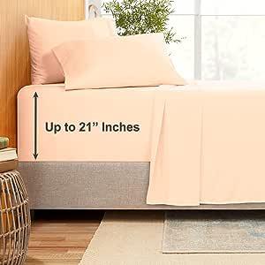 Empyrean Bedding 竹子混纺 4 件套 53.34cm 床单套装 – 竹子和超细纤维混纺 – 超深口袋床单 – 易于护理,不起皱,无需熨烫 Pale Blush (Pink) Olympic Queen Size EB-Sht-mb35-21-OQ-Blush