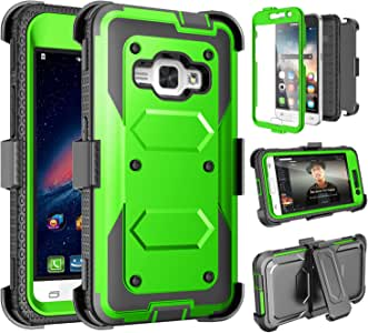 Galaxy Luna 手机壳,Galaxy Amp 2 手机壳,Galaxy Express 3 手机壳,J1 2016 手机壳,Tinysaturn(TM) [Yvenus 系列]减震皮套皮带夹[内置屏幕]三星 Galaxy J1 2016 手机壳 绿色