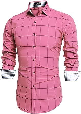 jinidu 男式棉质长袖格子修身扣领衬衫  粉色 XX-Large