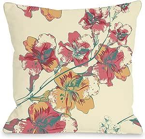 Bentin 家居装饰抽象花朵抱枕 带拉链 OBC 出品 Abstract Flowers - Cream Multi 16x16 Pillow With Zipper 12443PL16Z