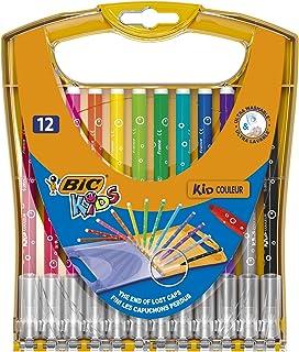 BIC 儿童纤维画家 Kid Couleur 中号, 毛毡笔实用盒装适用于在路上, 笔盒 à 20件 Stiftebox à 12 Stück