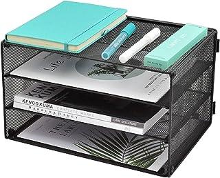 EASEPRES 纸张收纳托盘,3 层网状桌面文件收纳信件分类架,适用于家庭办公室,黑色