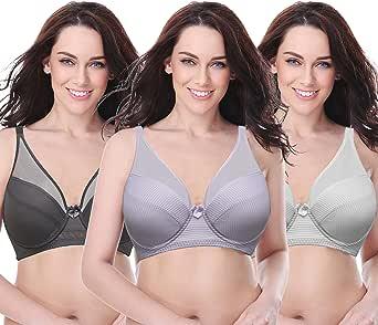 Curve MUSE 女式加大码缩胸无钢圈全罩杯 bra-3pk Lavender,gray,cream 42DDD