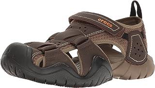 crocs 男式 swiftwater 皮革 M 渔夫儿童拖鞋