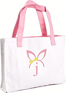Cathy's Concepts Girls Easter Bunny Canvas Tote Bag, Monogrammed Letter J