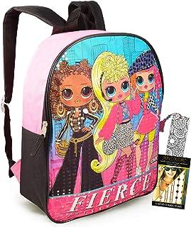 """LOL 娃娃背包旅行包青少年女孩儿童包 ~ 高级 15"""" LOL 书包旅行套装带书签和临时纹身(L.O.L. 女孩男孩学校用品)"""