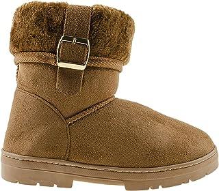 Chatties Chatz 女式一脚蹬短裤 6 英寸(约 15.2 厘米)仿麂皮冬季靴,带人造皮草袖口和搭扣,黑色 6 码