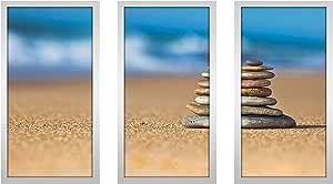 """Picture Perfect International 704-2311-1224 """"Rocks 3"""" Framed Plexiglass Wall Art, Set of 3, 13.5"""" W x 25.5"""" H x 1"""" D"""
