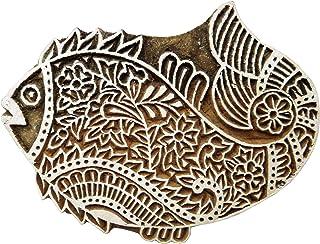 """手工木制块纺织品印花布印章鱼设计精美艺术 设计 #1 5.6 x 4.4"""" x 1"""" Inches PB274"""