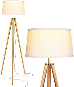 Brightech - Emma 三脚架落地灯 - 经典设计适合现代或传统客厅 - 柔软环境照明 白色灯罩 FLW064