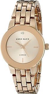 Anne Klein 女式 AK/1930RGRG 钻石点缀表盘玫瑰金色手链手表