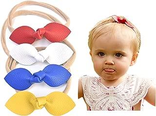 California Tot 兔耳朵人造皮革蝴蝶结弹力头带,适合幼童女孩,4 件套