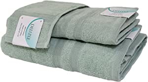 Deluxe Hotel and Spa 3-Piece Cotton Bath Towel Set, 100% Turkish Natural Soft Cotton, Made in TURKEY (1 Set, Rain)