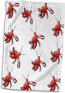 3D Rose 红草鱼重复图案手巾,15 英寸 x 22 英寸