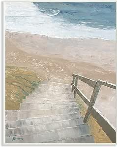 The Stupell 家居装饰楼梯到岸边透视绘画墙板艺术 多色 10x15 cwp-362_wd_10x15