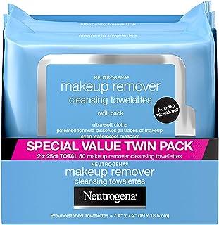 Neutrogena 露得清 卸妆洁面巾,日常清洁面部以去除防水的彩妆和睫毛膏,无酒精,超值双包装,25片,2包