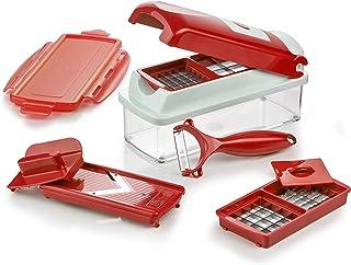 Genius Nicer Dicer Smart 9 件式 切割 研磨 刨片 切丁 水果和蔬菜刀 电视广告 新款 红色 22.2  x  10  x  8.1999999999999993 cm