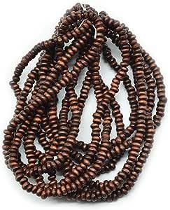 Goelx 圆形木珠子午餐(20 Mala)3 毫米用于珠宝制作、串珠和艺术工艺品 - 大约 2000 颗珠子! ! 咖啡棕色 GOELX-ART125-COFFEE-BROWN