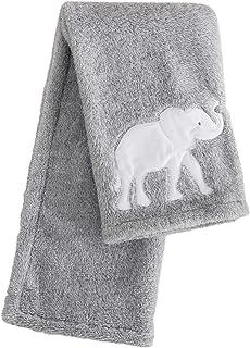 Levtex 婴儿大象游行毛绒毯,灰色/白色