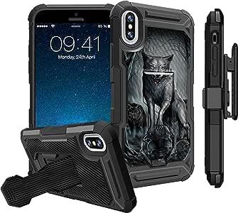 苹果 iPhone X (2017) 皮套手机壳,iPhone Xs (2018) 皮套皮套[战术盔甲]双层混合保护套带支架结实皮套皮带夹 Midnight Wolf