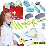假扮玩具儿童*套装 w/可定制*服装 - 玩具套装包括发光听诊器、头带、温度计等 - 幼儿学习玩具