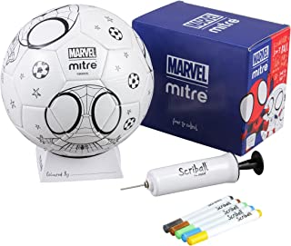 Mitre Kids' Spiderman Scriball Personalisation Football with Colouring Pens, White, Size 3