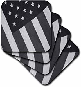 3dRose cst_14169_2 Cloth American Flag Black N White-Soft Coasters, Set of 8