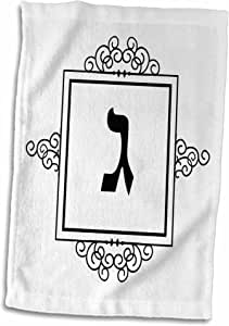 "3dRose InspirationzStore Judaica - Gimel Hebrew Monogram 用于字母 G 或 J 首字母字母的雪茄 - 毛巾 多种颜色 15"" x 22"" twl_164916_1"