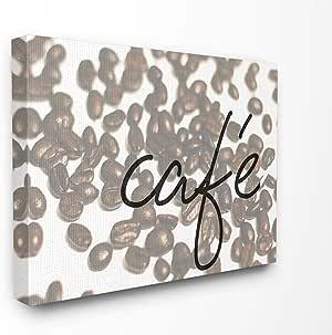 """The Stupell 家居装饰系列咖啡馆卷曲中的咖啡豆带框艺术微喷纹理艺术微喷,美国制造 24"""" x 30"""" mwp-375_cn_24x30"""