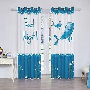 fassbel 2面板套装数字印花窗帘卧室客厅餐厅儿童房窗 drapes