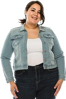 Denim Collection 女式牛仔夹克 - 加大码经典复古水洗长袖休闲弹力纽扣卡车司机外套