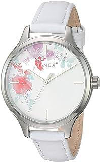 TIMEX 女式 tw2r66800*花朵图案白色 / 银色花卉风格皮革表带手表