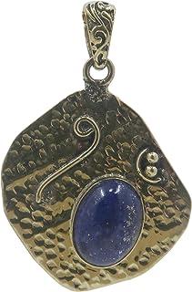Lapis 吊坠精品正品蓝色宝石椭圆形花式黄金金属藏式设计皇家水晶* B01