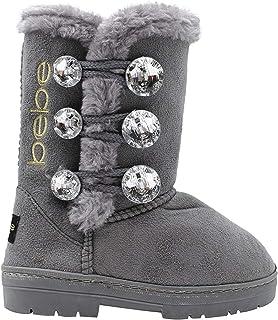 Bebe 女童大孩子一脚蹬保暖麂皮冬季靴,带水钻纽扣和毛皮饰边