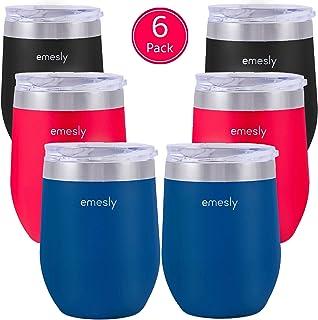 Emesly 绝缘无柄酒杯带滑动盖(2 件套)双壁真空不锈钢酒杯,不易破损的便携式金属高脚杯;家庭,旅行,露营,户外;12 盎司 6 Pack (Black, Navy Blue & Red)